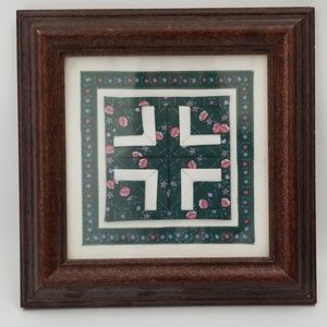 Mini Framed Hand Sewn Square Quilt Work and Border